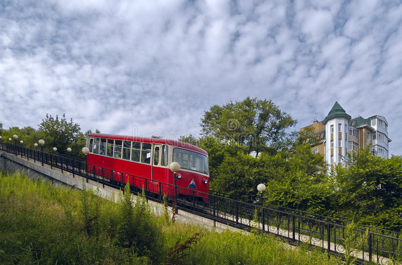 The Coach of funicular railway stock image