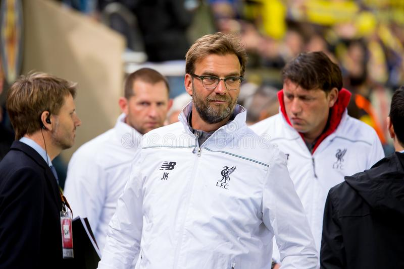 The coach Jurgen Klopp at the Europa League semifinal match between Villarreal CF and Liverpool FC. VILLARREAL, SPAIN - 28 APR: The coach Jurgen Klopp at the royalty free stock image