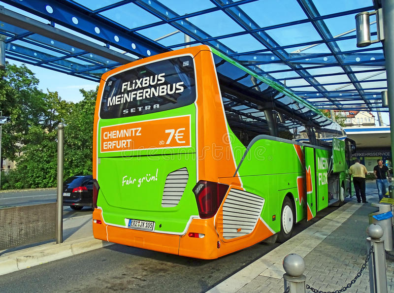 Coach of MeinFernbus FlixBus in Chemnitz stock photo
