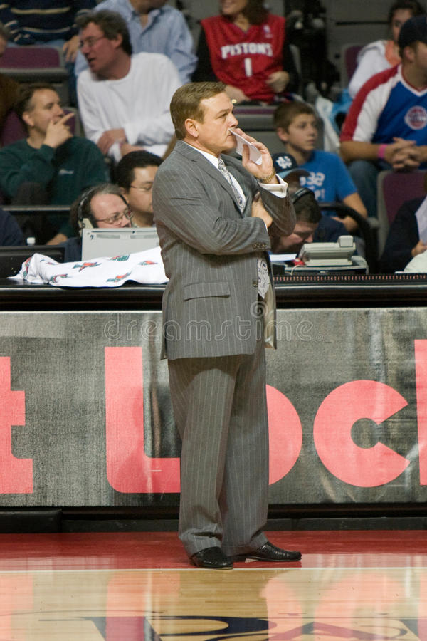 Coach Mike Fratello. Mike Fratello of the Memphis Grizzlies watches play during a game against the Detroit Pistons at the The Palace Of Auburn hills during the stock photo