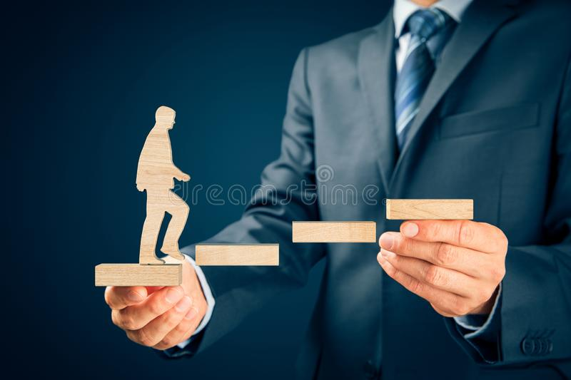 Coach motivate to personal development. Success and career growth from the beginning stock images