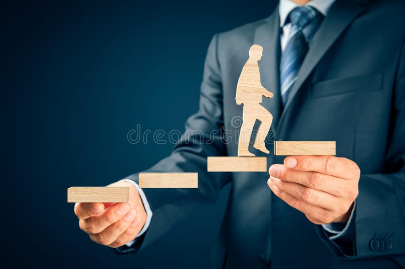 Coach motivate to personal development. Success and career growth concept royalty free stock photo