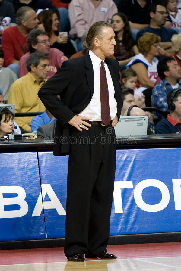 Coach Pat Riley. Of the Miami Heat has the ball during a game against the Detroit Pistons at the The Palace Of Auburn hills during the 2006-2007 season stock photo