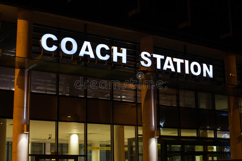 Download Coach Station Illuminated Sign Stock Photo - Image of city, glass: 28133268