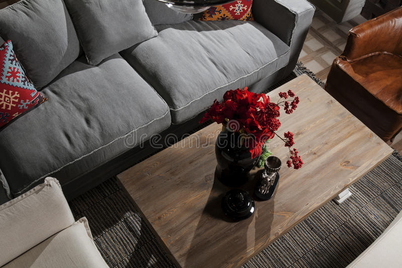 Coach with table. And pillows stock photo