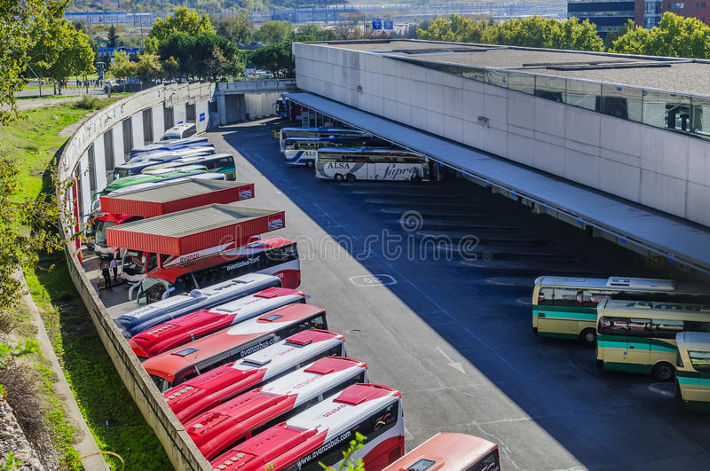 Coaches and buses in bus terminal in Madrid royalty free stock image