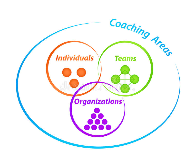 Coaching Areas Diagram. Diagram with three coaching areas with tags Individuals, Teams, Organizations royalty free illustration