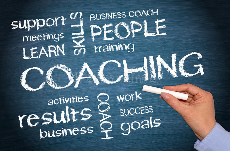 Coaching Business Concept - female hand writing text. On blue background royalty free stock image