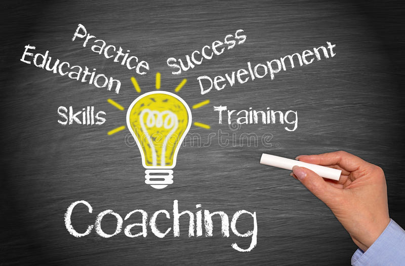 Coaching - business concept with light bulb and text royalty free stock photos