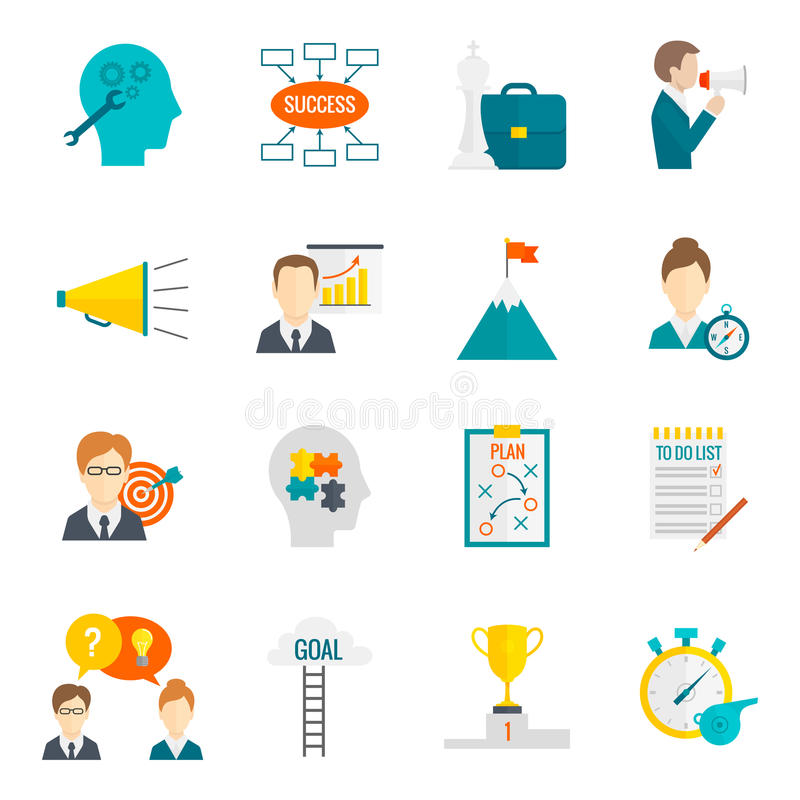 Coaching Business Icon Flat stock illustration