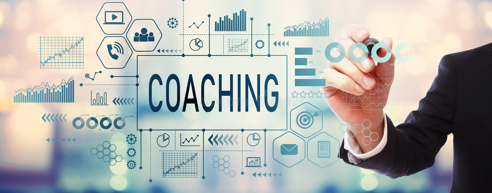Coaching with businessman royalty free stock photo