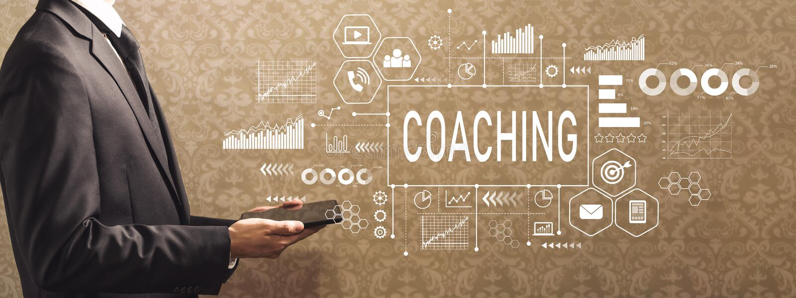 Coaching with businessman holding a tablet computer royalty free stock images