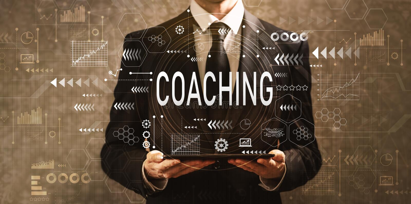 Coaching with businessman holding a tablet computer royalty free stock photo