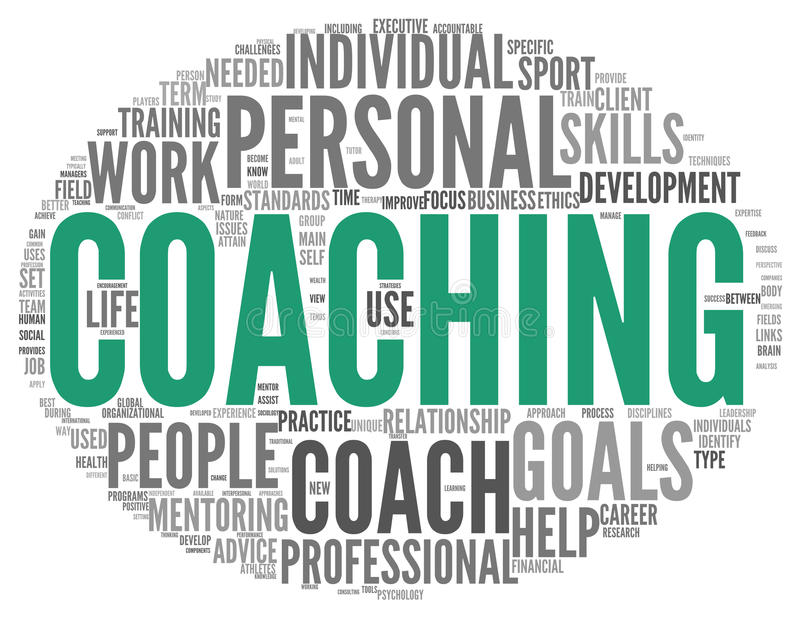 Coaching concept in sphere tag cloud royalty free illustration