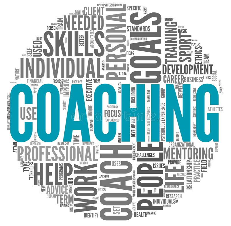 Coaching concept in tag cloud stock illustration