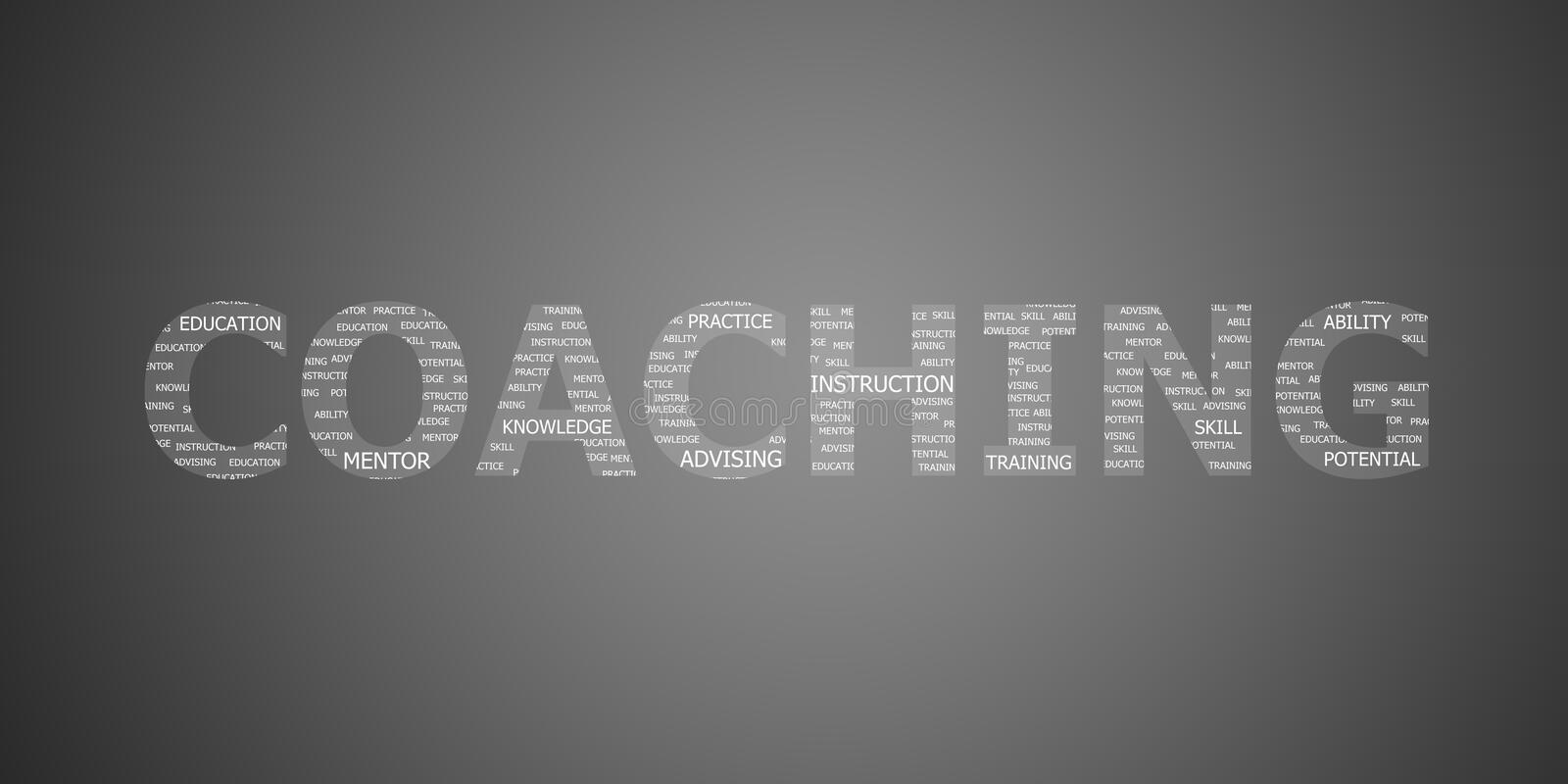 Coaching concept word vector illustration