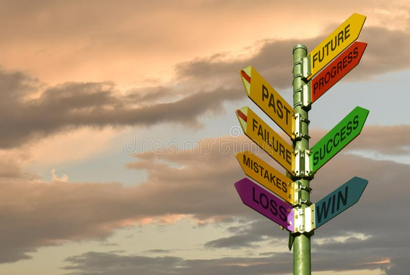 Coaching directory,success,win, pole with directions and cloudy sky stock images