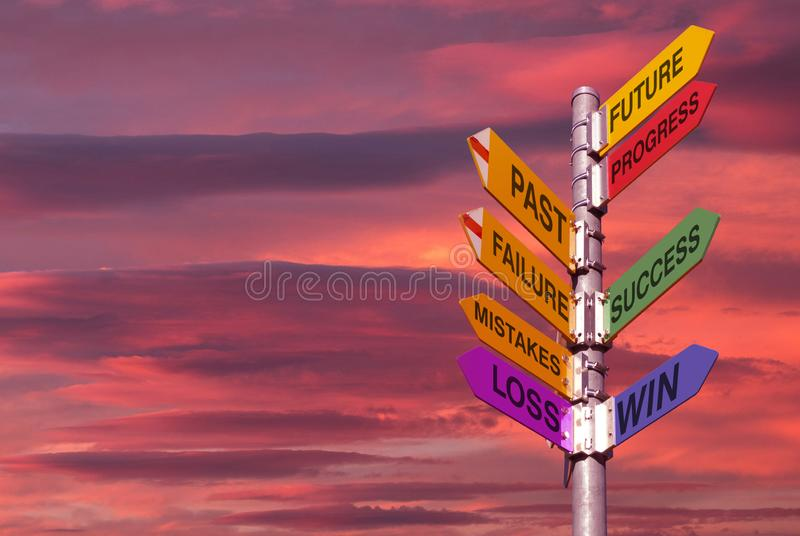 Coaching directory,success,win, pole with directions and cloudy sky royalty free stock photos