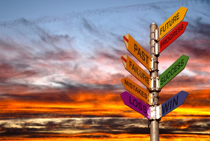 Coaching directory,success,win, pole with directions and cloudy sky stock image