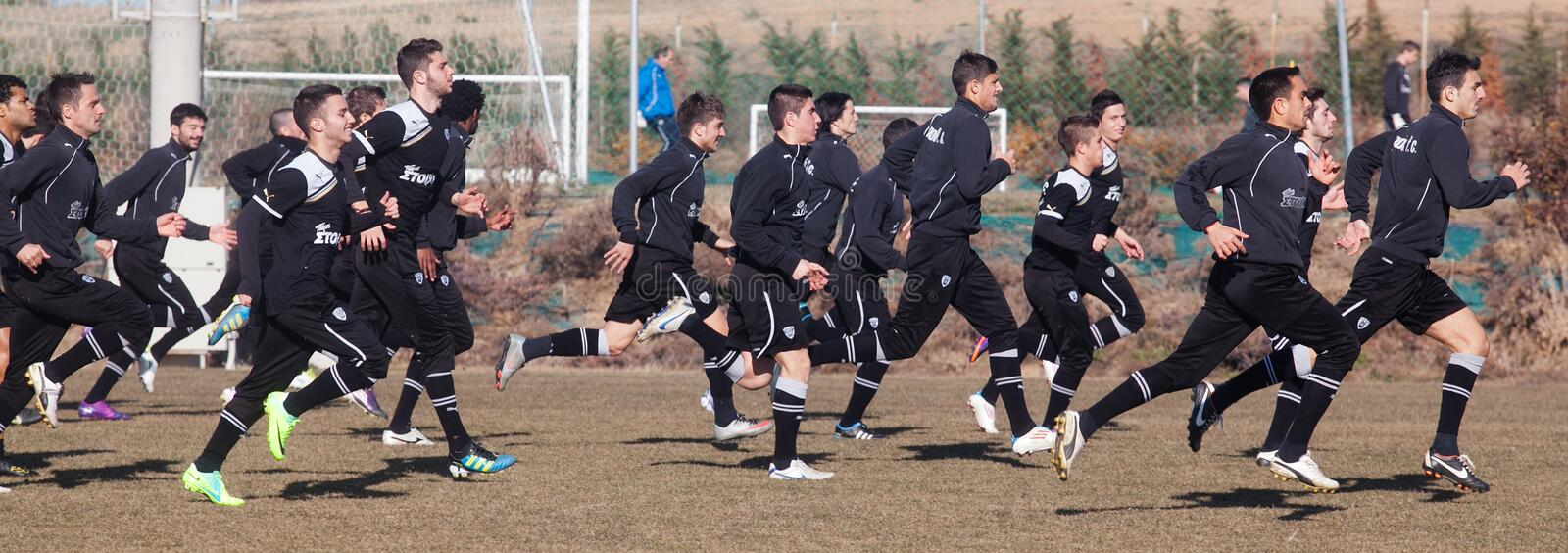 Coaching The Football Team Of PAOK Editorial Photography