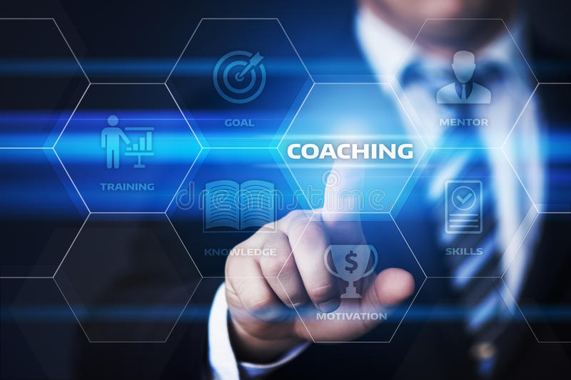 Coaching Mentoring Education Business Training Development E-learning Concept stock image