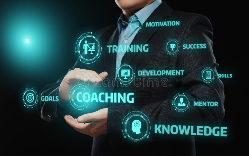 Coaching Mentoring Education Business Training Development E-learning Concept royalty free stock photos