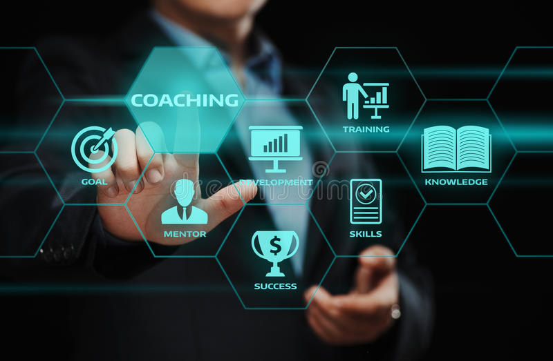 Coaching Mentoring Education Business Training Development E-learning Concept.  stock photos