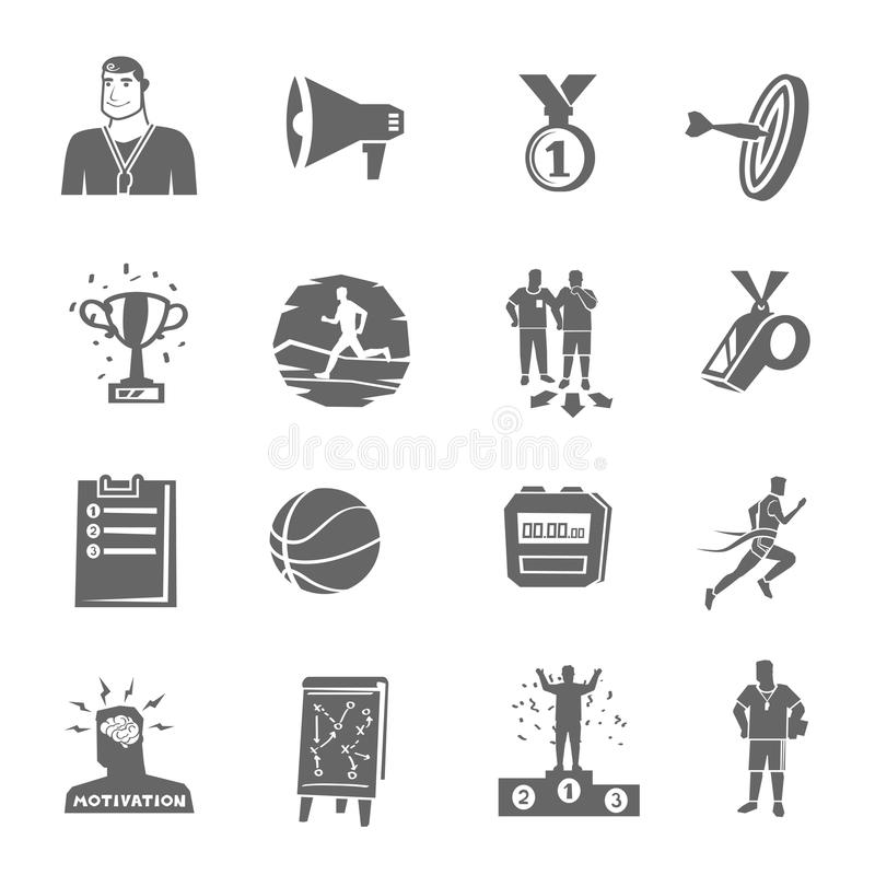 Coaching And Sport Icons Set. Coaching and sport black flat icons set isolated vector illustration stock illustration