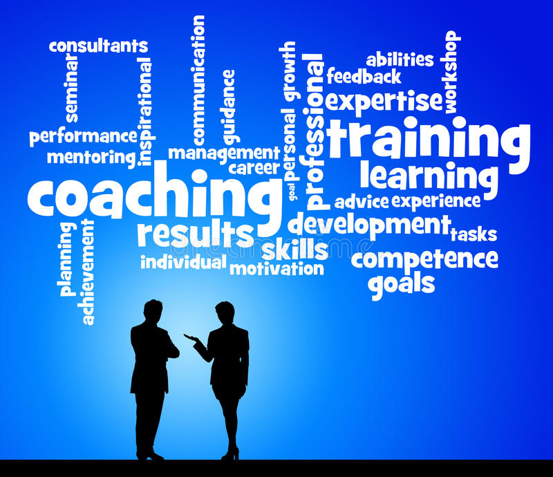 Coaching and training. Training and coaching of personnel stock illustration