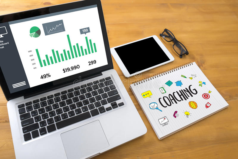 COACHING Training Planning Learning Coaching Business Guide Ins stock photos