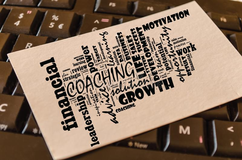 Coaching word cloud collage stock photo
