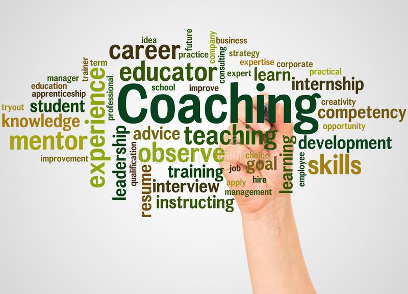 Coaching word cloud and hand with marker concept royalty free stock photos