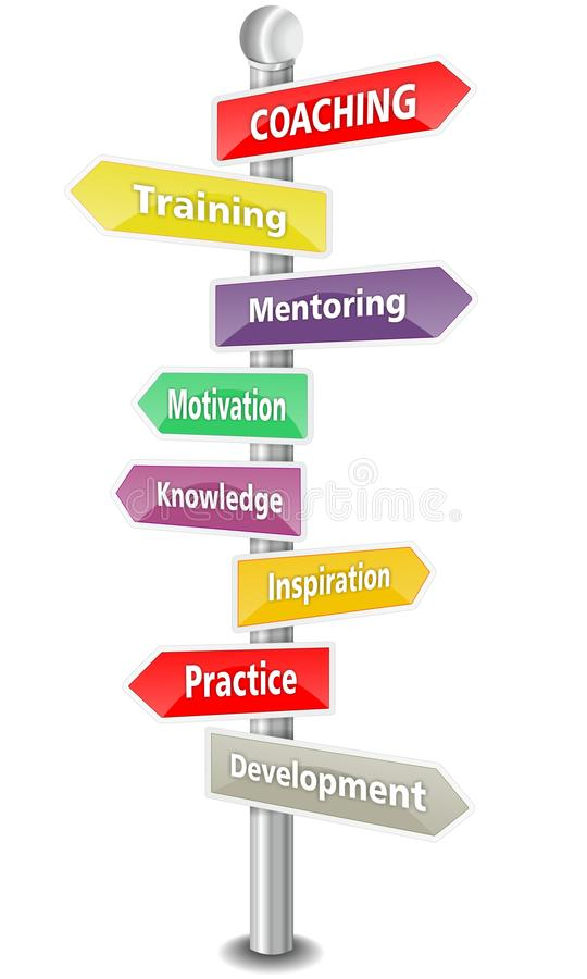 COACHING - word cloud - multi colored signpost royalty free illustration