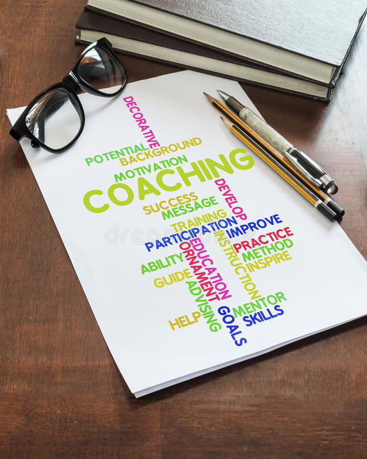 Coaching word collage on paper royalty free stock photography