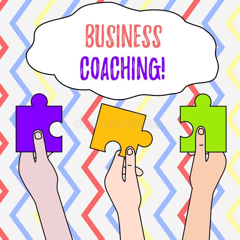 Coachning f?r handskrifttextaff?r Hjälpande anställda för begreppsbetydelse att bli aktivare konsultera en expert tre vektor illustrationer