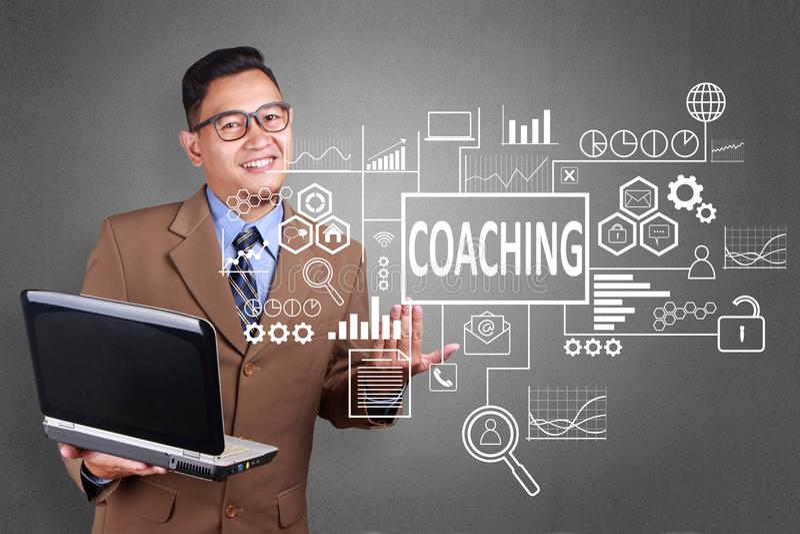 Coachning i affärsidé royaltyfri foto
