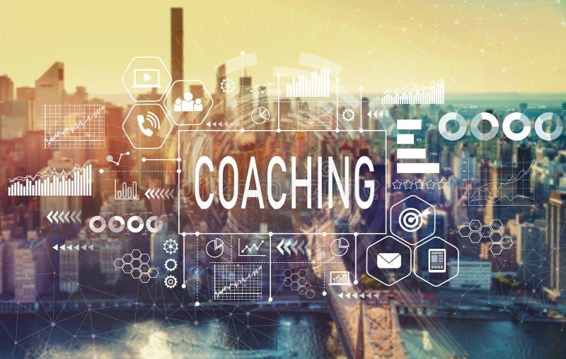 Coachning med New York City royaltyfri foto
