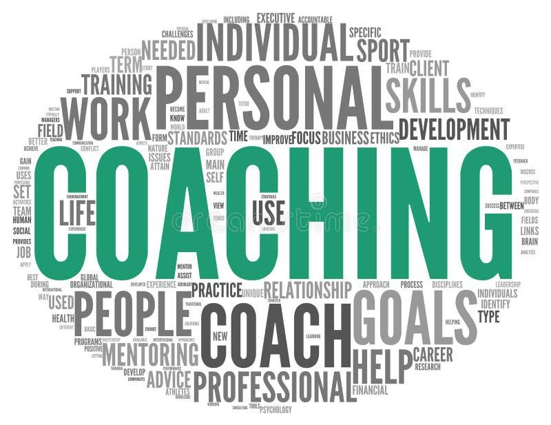 Coachningbegrepp i sfäretikettsmoln royaltyfri illustrationer