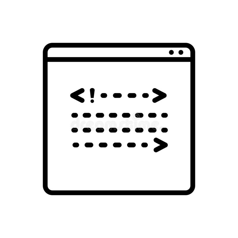 Black line icon for Coading, development and backend. Black line icon for Coading, backend, coding, miscellaneous and development royalty free illustration