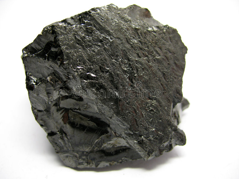 Coal. Piece of black coal isolated on white background