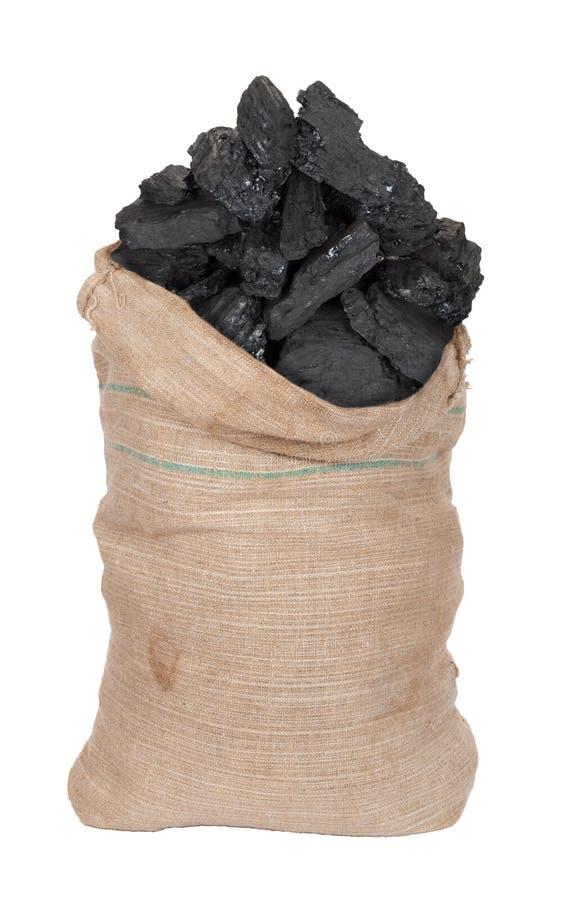Coal in big sack royalty free stock image