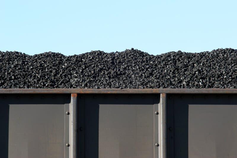 Coal in boxcar. Coal in train boxcar awaiting transport stock photos