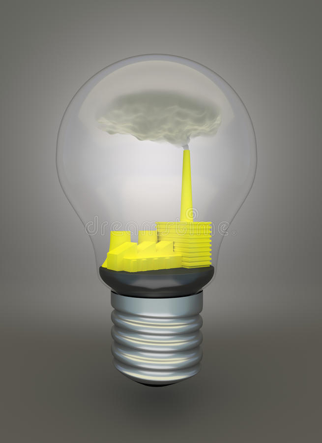Free Coal Burning Power Plant In Light Bulb Royalty Free Stock Images - 40134279