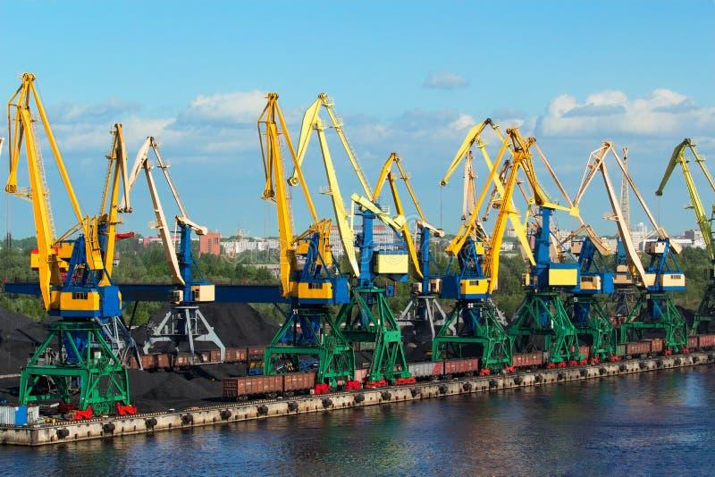 Download Coal cranes in port stock photo. Image of cargo, industrial - 36376462