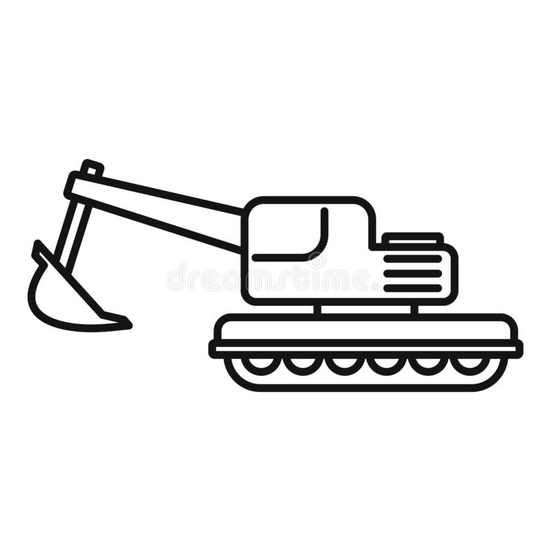 Coal excavator icon, outline style. Coal excavator icon. Outline coal excavator vector icon for web design isolated on white background royalty free illustration