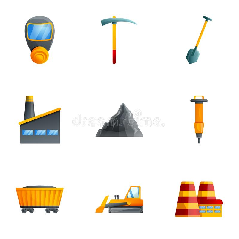 Coal extract factory icon set, cartoon style. Coal extract factory icon set. Cartoon set of 9 coal extract factory vector icons for web design isolated on white stock illustration