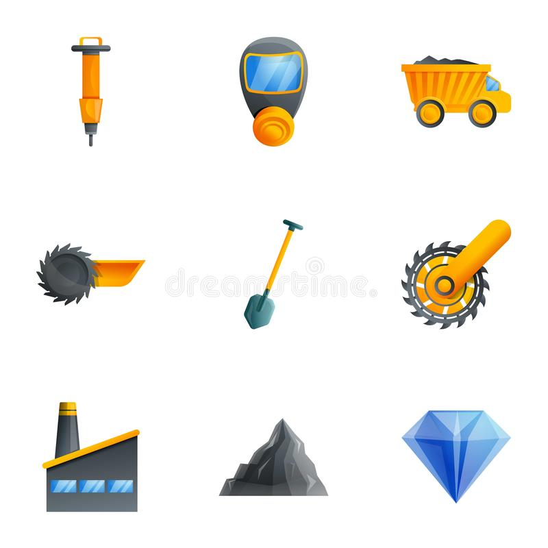 Coal extract mine icon set, cartoon style. Coal extract mine icon set. Cartoon set of 9 coal extract mine vector icons for web design isolated on white stock illustration