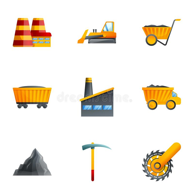 Coal factory icon set, cartoon style royalty free illustration