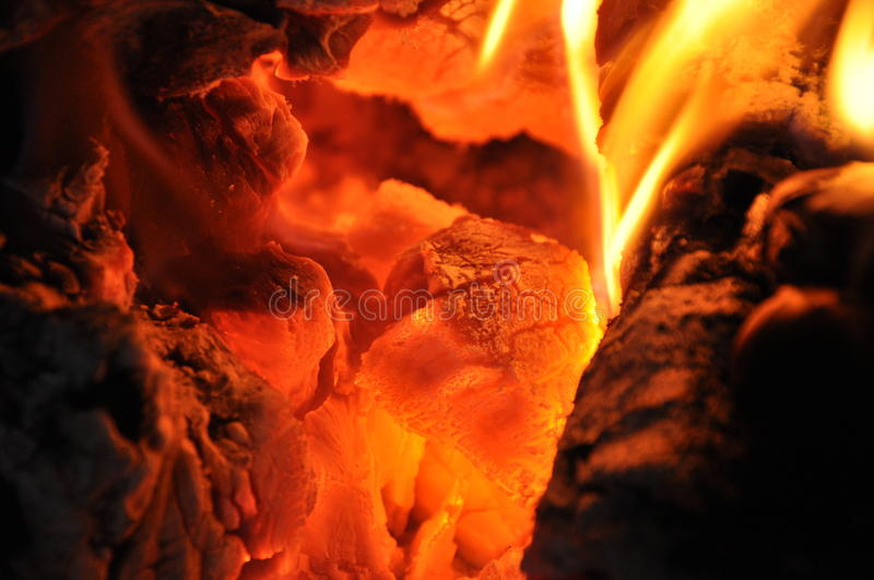 COAL FIRE. Photo of coal fire burning stock photography