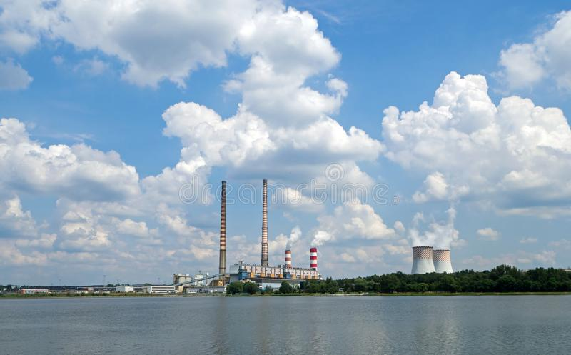 Coal-fired power plant located on the Rybnik Lake, Poland stock images